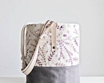 Maker Bucket Bag with Optional Adjustable Strap - Organic Cotton and Natural Leather