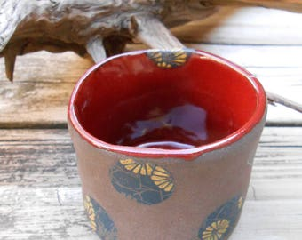 Red Flower Spotted Ceramic Cup