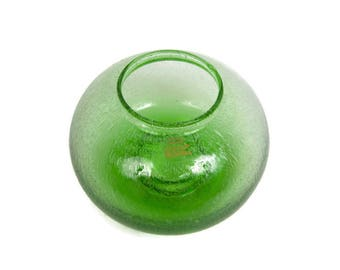 Vintage Green Art Glass Candleholder Controlled Bubbles Made in Poland Lime Green Vase Blown Glass Votive Holder Centerpiece