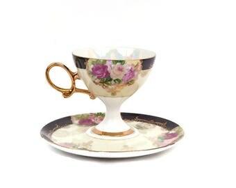 Vintage Shafford Teacup and Saucer Pink Roses Lustre Pedestal Tea Cup Made in Japan Opalescent Heavy Gold Ornate Handle