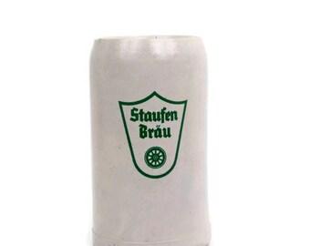 Vintage Staufen Brau 1 Liter Beer Stein German Stoneware Salt Glazed Mug Bachelor Gift Octoberfest Stein Barware Breweriana