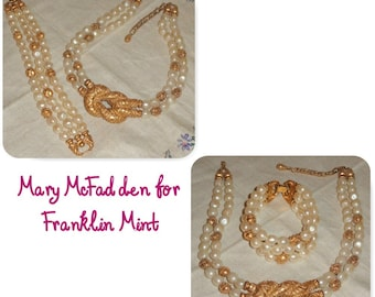 Signed FM 1988 Mary McFadden for Franklin Mint Etruscan Simulated Baroque Pearl Necklace & Bracelet Chunky Statement Set HTF
