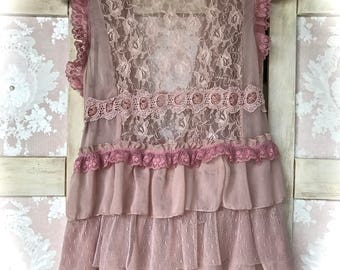 Romantic Mauve Cottage Rose Layered Sheer Long Lace Vest Small