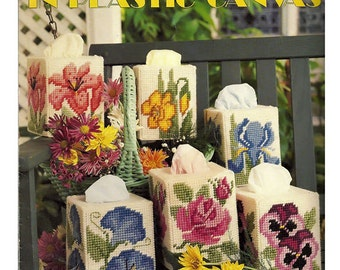 Floral Tissue Covers in Plastic Canvas Pattern Book Leisure Arts Leaflet 1214