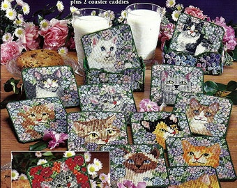 A Dozen Kitty Coasters Plastic Canvas Pattern Book American School of Needlework 3201