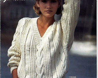 Gloucester Worsted Weight Fashions By Bernat 3 Sweaters to Knit Pattern Book No 545