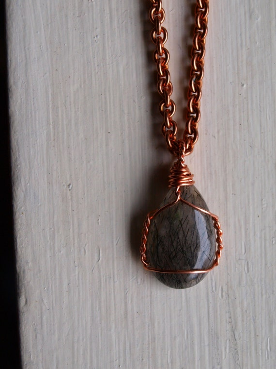 Rutilated Quartz Crystal Necklace in Natural Copper, Thick Cable Chain - OOAK Bohemian Men's and Woman's Fashion