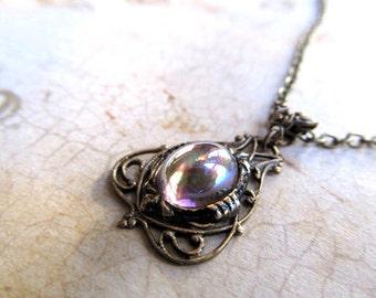 Art Deco Necklace Art Nouveau Necklace Steampunk Necklace 1920s Necklace Fantasy Jewelry Gold Filigree Necklace Pink Necklace-Halo