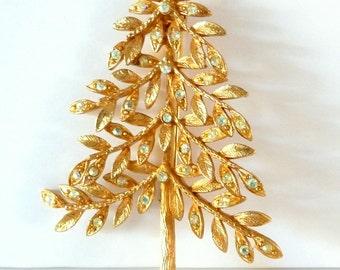 Vintage Mylu Tree Brooch Pin AB Crystal Rhinestones Christmas Tree Pin from TreasuresOfGrace