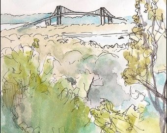 Newport Bridge Rhode Island, Summer Green, Kingston 8.5x11 giclee art print of painting of Landscape & Architecture