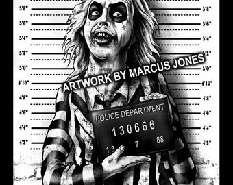 Gothic Art, Beetlejuice Mugshot art,  Witchcraft, Occult , Witch , Goth, dark Art, Art Print by Marcus Jones