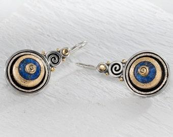 Gold lapis earrings, Lapis Lazuli Earrings, 22k gold earring gemstone, Lapis lazuli jewelry