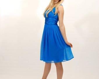 20% OFF SALE Sapphire Blue Chiffon Dress, Silky Dress, Women's Size 6 Dress, Fit and Flare Dress