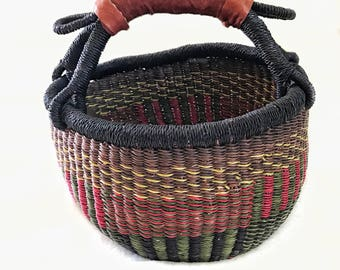 Handwoven Africian Mini Market Basket | Alaffia Basket | Multicolored Basket with Leather Wrapped Handle