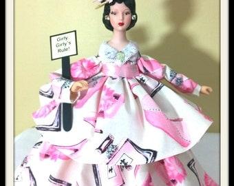 Latina Gift Doll, Dark Haired Art Doll, Girly Girly Whimsical Home Decoration, Hispanic Porcelain Tree Topper