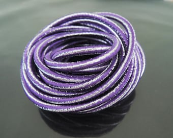 Elastic Cord 3.5mm - Metallic Purple Silver Round Stretch Elastic Drawcord Rope Cord ( 1 , 5 or 10 Yards )