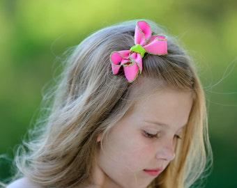 Hot Pink & Lime Medium Moonstitch Hair Bow - Moonstitch Hair Bow, Moonstitch Ribbon, Pink Hair Bow, Moonstitch, Pink and Green Hair Bow