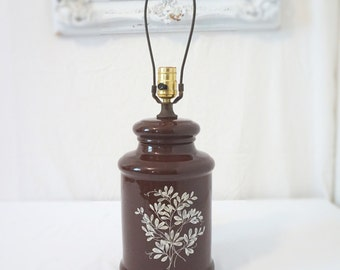 70s Brown Ceramic Vintage Table Lamp with White Flowers