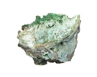 Austinite Smithsonite Conichalcite Azurite Malachite Botryoidal Crystalline Mineral Specimen on rock matrix from an estate collection