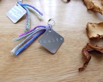 Metal Word Tag Earrings, Stamped Word Tassel Earrings, Bohemian Jewelry, Word Charm Earrings, Adventure Earrings, Inspiration Earrings