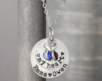 Silver Mother Necklace, Mommy Necklace, Hand Stamped Jewelry, Mother  Birthstone Necklace, Child Name Necklace, Mother Jewelry,