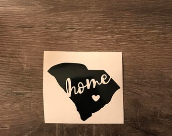 South Carolina Home w/heart Vinyl Decal, Home State, All States Available, Yeti Decal, Laptop Decal, Cell Phone Sticker, Car Decal