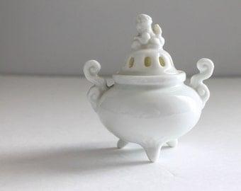Vintage Small White Porcelain Foo Dog Incense Burner