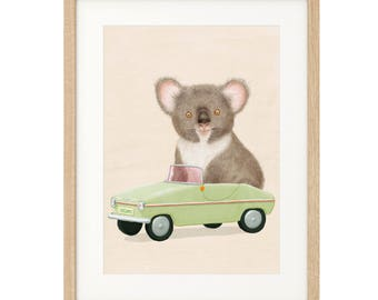 Favel the Koala goes for a Drive - Extra Large Art Print - Archival inks & paper
