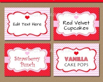 Editable Valentines Day Pink and Red Chevron Labels with Hearts - Printable Candy Buffet Labels, Tent Cards - Valentine Buffet Cards V2