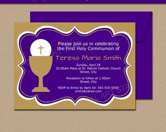 Girl First Communion Invitations, PRINTABLE Communion Invitation, DIY First Holy Communion Decorations, Purple Gold 1st Communion Sign