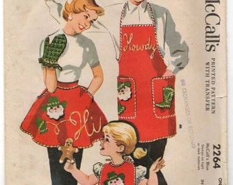 McCall's Full Apron, Half Apron, Oven Mitt, and Bib Pattern with Transfer - One Size - No. 2264