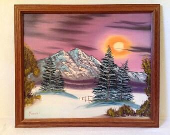 Colorful LANDSCAPE Painting Acrylic on Canvas w Oak Frame Signed Pusick Vintage Winter scene