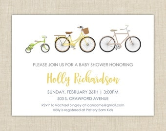 Bicycle Baby Shower Invitation. Baby Shower Invitation. Gender Neutral Baby Shower Invitation