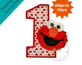 Red monster with heart pattern number one birthday patch - iron embroidered fabric applique patch embellishment- ready to ship
