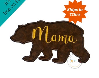 Mama bear silhouette iron on applique-large brown bear with gold script Mama machine embroidered fabric patch-DIY boutique fashions