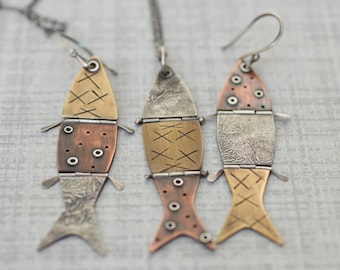 """Hinged Fish Pendant, Mixed Metal Pendant, Reticulated Silver Pendant, Riveted Pendant, """"Hooked"""""""