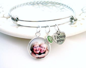 Photo Bracelet Picture Bracelet Nana Gift Photo Gift for Mom Grandmother Jewelry Personalized Photo Charm Birthstone Bracelet for Wife Gift