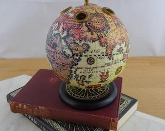 Vintage Old World Globe Pen Holder,  Spinning Globe Pencil Holder,  Rustic Desk Acessory, Desktop Storage, Home Decor