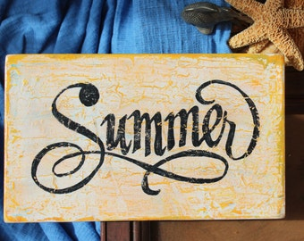 Summer Handpainted Wood Sign Summertime Decoration Yellow White Summer Decor