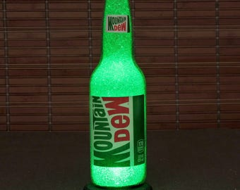 Mountain Dew Soda 12 oz Bottle Accent Lamp Night Light Bar Man Cave Sign Glow Sparkle