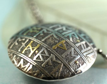 Round Rune Pendant in Sterling with Gold Letter Detail - Lentil Bead