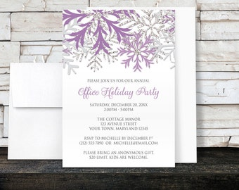 Holiday Party Invitations - Purple Silver Snowflake Winter design on white for Christmas or any Winter Party - Printed Invitations
