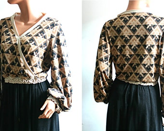 Bohemian Faux Wrap Top Geometric Brown Black Bishop Long Sleeves Blouse Women's Clothing Size Small Medium S/M