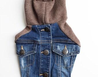 Dog Jean Jacket with Brown Sweatshirt Sleeves and Hood (XXS)