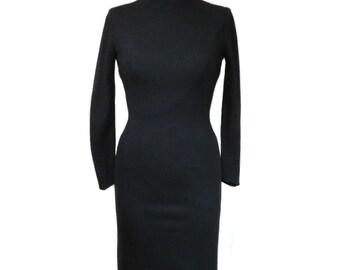vintage 1960s black wiggle dress / Alfred Werber / wool / high neckline / women's vintage dress / size small