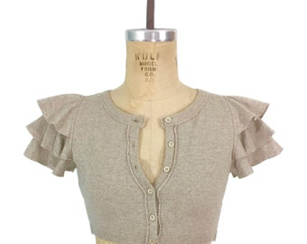vintage MOSCHINO cropped knit top / Cheap and Chic / beige silver lurex / ruffled sleeves / cardigan / women's vintage top / tag size 6