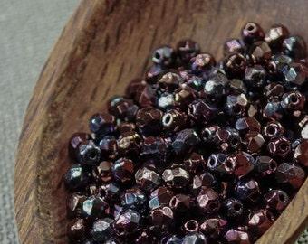 Czech Fire polish Purple Glass Beads 4mm Opaque Metallic (50) Polished 4mm purple beads Purple iris beads