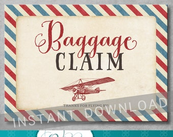 Baggage Claim Sign - 5x7 inches - Vintage Airplane Baby Shower - Birthday - Baby Boy - Favor Sign - Digital - Printable - INSTANT DOWNLOAD