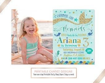 Mermaid Invitation Mermaid Birthday Invitation Teal Blue Gold Mermaid Invitation Under The Sea Invitation Mermaid Birthday Party