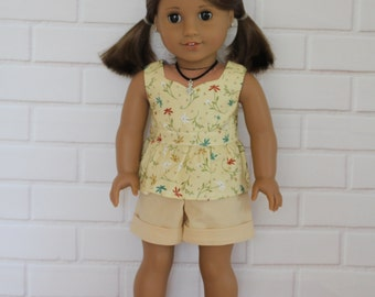 Beige Floral Peplum Top Beige Shorts Dolls Clothes to fit 18 inch dolls to 20 inch dolls such as American Girl & Australian Girl dolls